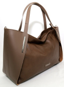Womens Leather Handbag Milano, Made in Italy, CREEO Taupe