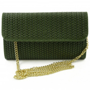 Made In Italy Leather Clutch With Braided Effect Colour Green Tuscan Leather - Woman Bag