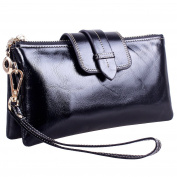 KorMei Women Genuine Leather Wristlet Wallet Purse Smartphone Clutch with Metal Shoulder Chain