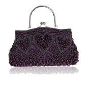Retro Handmade Double side Beaded sequined handbag Evening Bag Wedding Clutch Bridal Package Party Prom Purse Purple