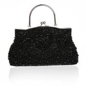 Retro Handmade Double Side Beaded Sequined Handbag Evening Bag Wedding Clutch Bridal Package Party Prom Purse Black
