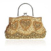 Retro Handmade Double Side Beaded Sequined Handbag Evening Bag Wedding Clutch Bridal Package Party Prom Purse Golden