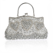 Retro Handmade Double Side Beaded Sequined Handbag Evening Bag Wedding Clutch Bridal Package Party Prom Purse Silvery