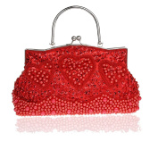 Retro Handmade Double Side Beaded Sequined Handbag Evening Bag Wedding Clutch Bridal Package Party Prom Purse Red