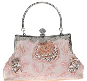 SCIONE Ladies Antique Evening Handbag Seed Bead Sequined Party Purse Prom Clutch Bag with Floral Motif