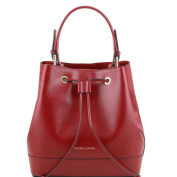 Tuscany Leather Minerva - Saffiano leather secchiello bag Red Leather handbags