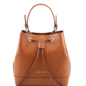 Tuscany Leather Minerva - Saffiano leather secchiello bag Cognac Leather handbags