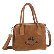 Real Leather Handbag Shoulder Bag, 23 cm, Light Brown