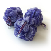 1541 London Large Exfoliating Bath & Shower Body Puff / Scrunchie / Buffer (Aubergine) 3 pack