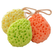 Millya 3 Colour Bath Shower Exfoliator Body Face Sponge Scrubber Mesh Ball with Loop - 3 Pack