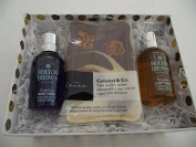 MOLTON BROWN/HOTEL CHOCOLAT LUXURY BATH AND BODY GIFT SET - 50ML YLANG YLANG AND 50ML GINGERLILY BATH AND SHOWER WASH WITH HOTEL CHOCOLAT CARAMEL AND CO CHOCOLATE SLAP - WITH GIFT BOX