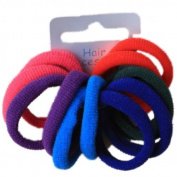 Set of 12 Bright Tones Soft Endless Fabric Hair Elastics Bobbles Hair Bands