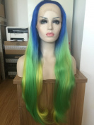 high quality blue/green/yellow ombre natural straight wigs free parting colourful synthetic lace front wig heat resistant fibre hair