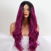 fashion purple body wave wig with dark roots high quality purple omber synthetic lace front wigs heat resistant fibre hair