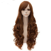 Women's Ladylike Side Bangs Long Curly Cosplay Lolita Wig for Halloween