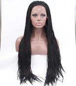 Hot Sales african american premium synthetic braiding wigs natural black micro braided lace front wig heat resistant fibre hair