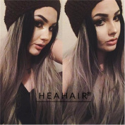 Heahair® Natural looking Women Colour Black Ombre Silver Wig Grey Handtied Long Synthetic Lace Front Wig for Fashion Girl