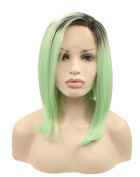 Kalyss Short Straight Ombre Dark Roots Black to Mint Green Synthetic Lace Front Wig 36cm