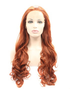 Kalyss Women's Copper Red Wig Long Curly Wavy Imported Premium Synthetic Lace Front Wig 60cm