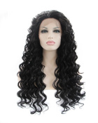 Kalyss Long Full Kinky Curly Black Synthetic 130% Density Women's Lace Front Hair Wig 60cm
