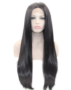 Kalyss Women's Wig Long Remy Straight Black Synthetic Lace Front Wig 60cm