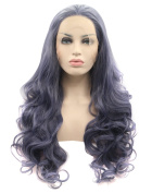 Kalyss Women's Long Curly Body Wave Imported Korean Heat Resistant Premium Synthetic Lace Front Wig Dark Grey