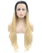 Kalyss Long Curly Twists Braids Ombre Black to Blonde Synthetic Lace Front Wig for Women 60cm