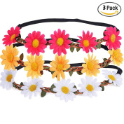NALATI 3 Pack Little Daisy Flower Headband Crown with Adjustable Ribbon for Wedding Festivals Ivory