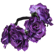 Large Purple Flowers on Elastic Hair Garland
