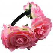 Large Pink Flowers on Elastic Hair Garland