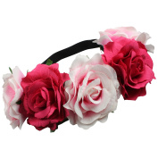 Large Two Tone Pink Flowers on Elastic Hair Garland