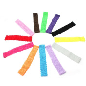 12pcs Cute Lovely Mixed Colourful Lace Stretch Elastic Headbands Hair Band Accessories