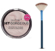 Technic Get Gorgeous Highlighting Powder 12g + LyDia® Small Blue Fan Cheek/Blending/Contour/Highlighter/Bronzer/Dust Makeup Brush