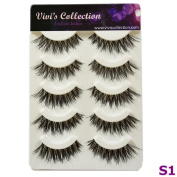 Vivi's Collection 5 Pairs S1 Natural Eyelashes Black False Eye Lashes