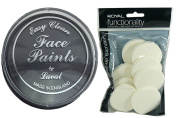 BLACK MAKEUP HALLOWEEN VAMPIRE ZOMBIE FANCY DRESS BODY PAINT & BLENDERS FACE SET