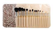 Morphe Brushes 15 Piece Wooden Handle SET w/ Cheetah Snap Case - Set 694 by Morphe Brushes