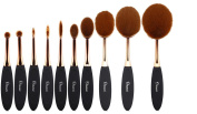 Ovonni MT034 10 Pieces Make Up Brushes Toothbrush Design Foundation Powder Brush Set Kits