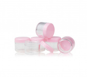 12PCS Tiny Plastic Empty Cosmetic Storage Containers with Pink Screw Cap for Creams Sample Make Up Storage