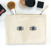 CanvasEmbroidered Eyes make up bag