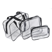 Txian 3 x CLear Hand Pouch Bag Made Of Waterproof PVC Materials With Zipper Ideal For Travel Cosmetic Bag Outdoor Sports Hiking Wash Bags
