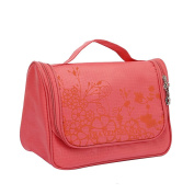 Qearly Lovely Waterproof Oxford Travel Toiletry Bag Cosmtic Makeup Bag-Red