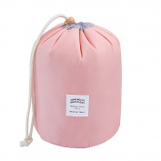 Qearly Large Capacity Drawstring Travel Cosmetic Bag Stroage Toiletry Bag-Pink