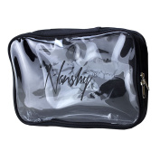 Nanshy Black Travel Cosmetic Makeup Organiser Bag with Clear Transparent Front and Zip - See Through - Great for Airport Cabin Flight Holiday Toiletry