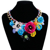 Hrph New Fashion Women Big Weave Chain Rhinestone Crystal Flower Bib Statement Necklace Choker