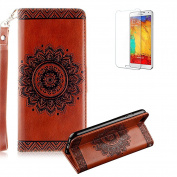 iPhone 7 12cm Case Cover [with Free Screen Protector], Funyye Mandala Flower Pattern PU Leather Wallet Designer Magnetic Closure with [Wrist Strap] and [Credit Card Holder Slots] Stand Feature Full Body Protection Case Cover Shell for Apple iPhone 7 4. ..