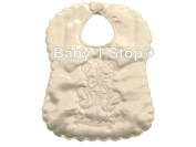 Baby Satin My Christening Day Ivory Bib