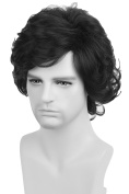 Topcosplay Men's Short Wig for Natural Wavy Black Style Halloween Cosplay Costume Fibre Hair Wigs