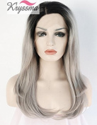 K'ryssma Women's Long Natural Wavy Grey Ombre Dark Roots Synthetic Hair Glueless Lace Front Wigs Half Hand Tied Heat Resistant Fibre 50cm