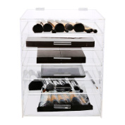 Hotrose 6 Tier Clear Acrylic Cosmetic Makeup Organiser with 5 Drawers