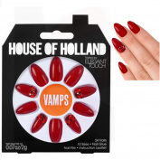 House Of Holland VAMP Christmas Red false Nails Plus Nail Glue Nail File fake nails